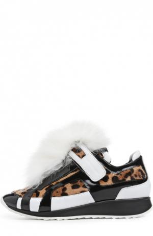 Кожаные кроссовки с меховой отделкой Pierre Hardy. Цвет: леопардовый