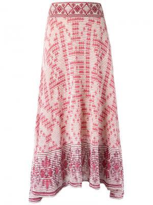 Трикотажная юбка миди Cecilia Prado. Цвет: розовый и фиолетовый