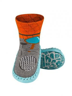 Тапочки-носочки детские SOXO. Цвет: серый, голубой, оранжевый