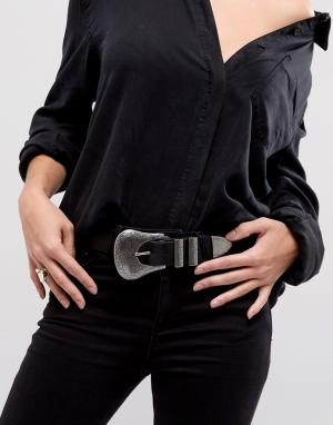 ASOS Ремень для джинсов в стиле вестерн с большой пряжкой. Цвет: черный