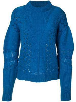 Кашемировый перфорированный свитер Prabal Gurung. Цвет: синий