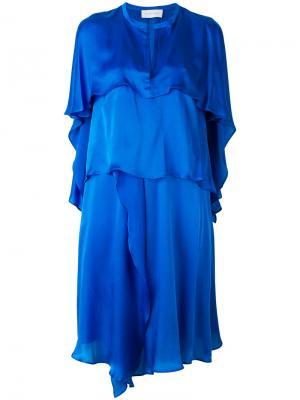 Платье с рюшами Christian Wijnants. Цвет: синий