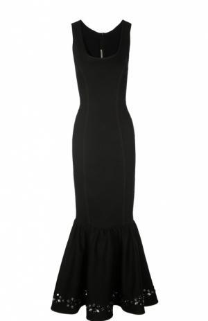 Платье в пол с юбкой годе и кристаллами Alessandra Rich. Цвет: черный