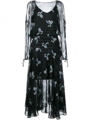 Платье с цветочным принтом Preen By Thornton Bregazzi. Цвет: чёрный