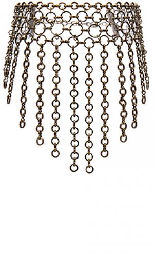 Cascading chain link choker Ettika. Цвет: металлический бронзовый