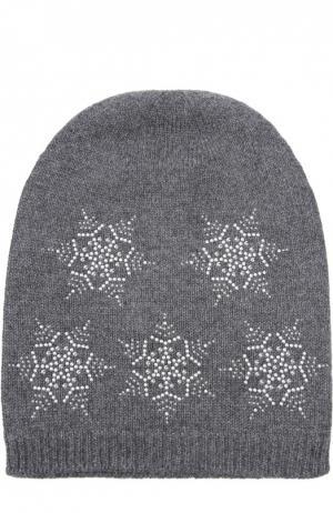 Кашемировая шапка с узором в виде снежинок Colombo. Цвет: темно-серый