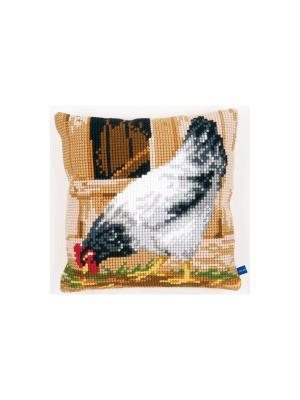 Набор для вышивания лицевой стороны наволочки Серая курица 40*40см Vervaco. Цвет: белый, коричневый, бежевый, зеленый, серый