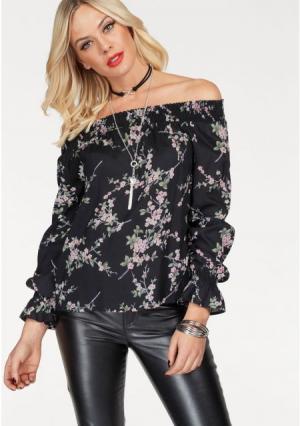 Блузка MELROSE. Цвет: черный в цветочек