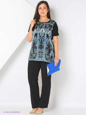 Блузка Fiorella Rubino. Цвет: черный, синий