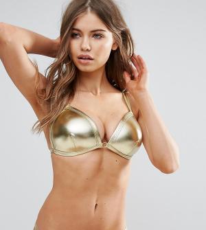 Wolf & Whistle Золотистый бикини с треугольными чашечками B-F. Цвет: золотой