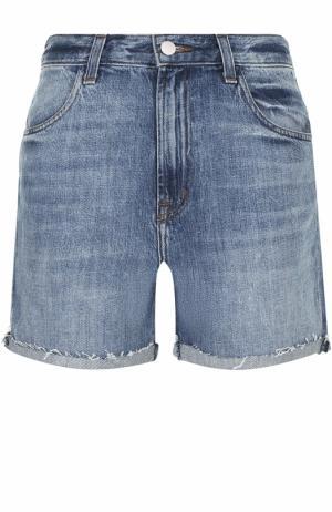 Укороченные джинсовые мини-шорты с потертостями J Brand. Цвет: голубой
