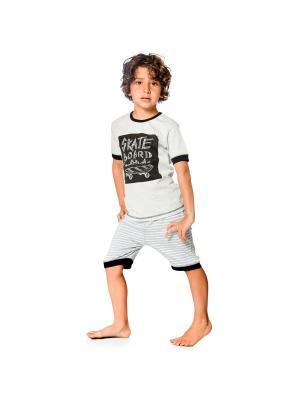 Пижама Deux par. Цвет: черный, светло-серый, серый