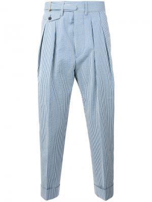 Укороченные полосатые брюки Wooster + Lardini. Цвет: белый