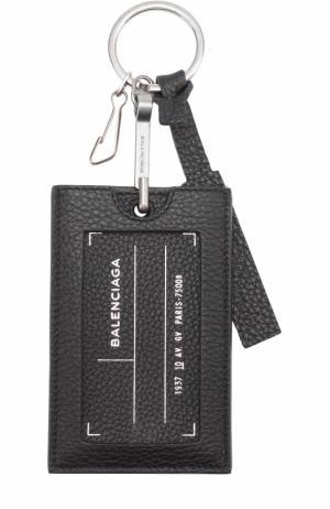 Кожаный брелок для ключей Balenciaga. Цвет: черный