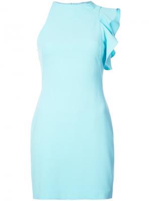 Асимметричное мини-платье с оборкой Black Halo. Цвет: синий