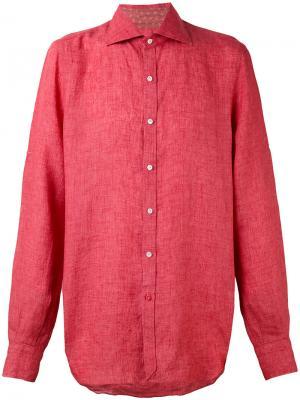 Классическая рубашка Isaia. Цвет: красный