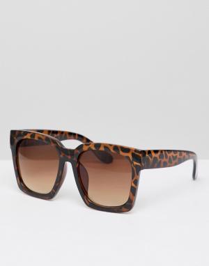 New Look Квадратные солнцезащитные очки. Цвет: коричневый