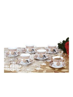 Чайный набор фарфор/нерж. 18 предметов Zillinger. Цвет: золотистый, белый