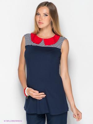 Блузка ФЭСТ. Цвет: темно-синий, красный, белый