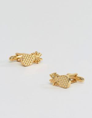 ASOS Золотистые запонки в форме ананасов. Цвет: золотой