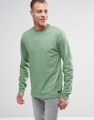 ADPT Меланжевый джемпер с круглым вырезом и разрезами у кромки. Цвет: зеленый