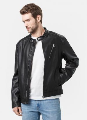 Куртка из фактурной кожи OSTIN. Цвет: черный