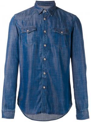 Джинсовая рубашка с нагрудными карманами Hydrogen. Цвет: синий