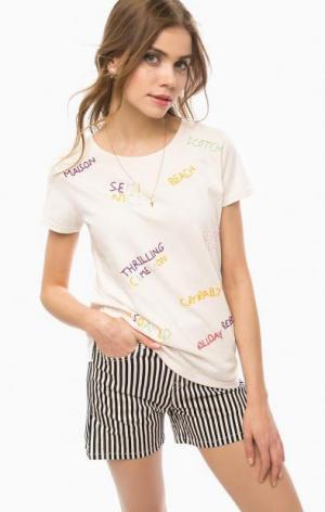 Хлопковая футболка с вышивкой Scotch&Soda. Цвет: бежевый