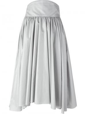 Плиссированная юбка А-образного силуэта Olympia Le-Tan. Цвет: металлический