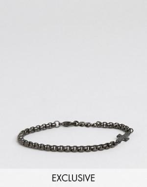Seven London Черный браслет-цепочка с крестом эксклюзивно для ASOS. Цвет: черный