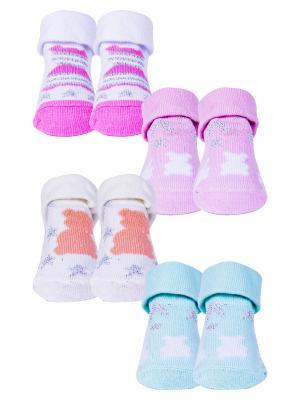 Носки, 4 пары Malerba. Цвет: молочный, белый, розовый
