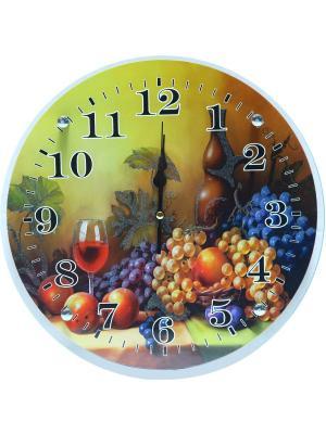 Настенные часы круглые под стеклом  Натюрморт 33х33 PROFFI. Цвет: красный, оранжевый