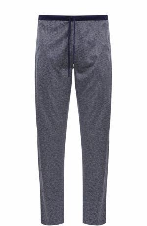 Домашние брюки из смеси хлопка и шелка свободного кроя Zimmerli. Цвет: синий