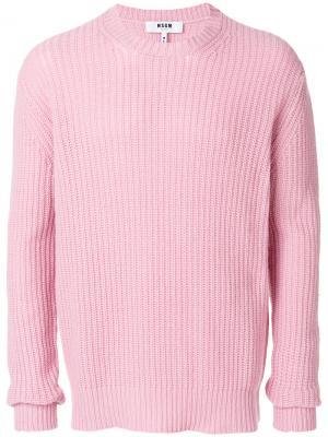 Свитер с ребристой фактурой MSGM. Цвет: розовый и фиолетовый
