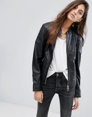 Goosecraft Стеганая кожаная куртка без воротника. Цвет: черный
