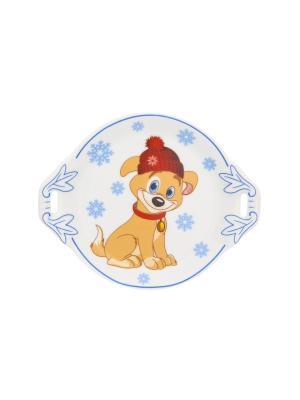 Тарелочка под лимон Щенок в шапке со снежинками Elan Gallery. Цвет: голубой, бежевый, красный