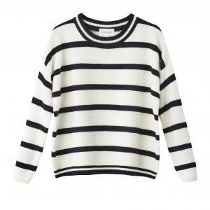 Пуловер хлопковый с круглым вырезом SUD EXPRESS. Цвет: экрю/ темно-синий