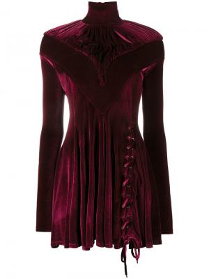 Велюровое платье мини с высокой горловиной Y / Project. Цвет: розовый и фиолетовый