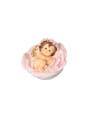 Фигурка декоративная Ангелочек в цветке Elan Gallery. Цвет: бежевый, розовый, золотистый, белый