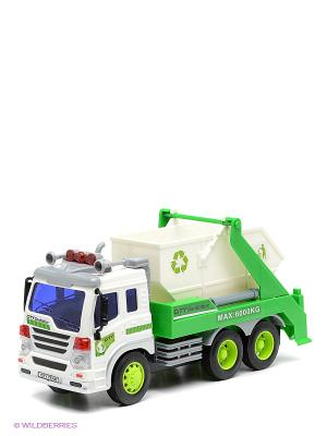 Машина грузовик-контейнерный мусоровоз Amico. Цвет: белый, зеленый, серый