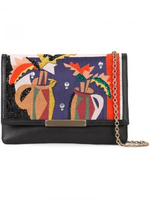 Embroidered fold-over clutch Lizzie Fortunato Jewels. Цвет: чёрный