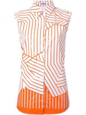Полосатая рубашка без рукавов Jil Sander. Цвет: жёлтый и оранжевый