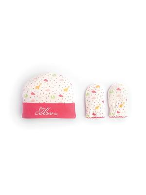 Шапочка и рукавички - антицарапки HappyBabyDays. Цвет: розовый