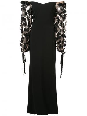 Вечернее платье с заниженной линией плеч Badgley Mischka. Цвет: чёрный