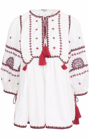 Топ с контрастной вышивкой и укороченным рукавом Talitha. Цвет: белый