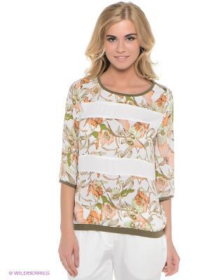 Блузка Baon. Цвет: оливковый, белый, оранжевый