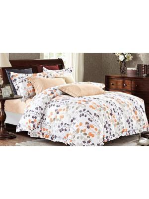 Комплект постельного белья евро Boris. Цвет: белый, оранжевый