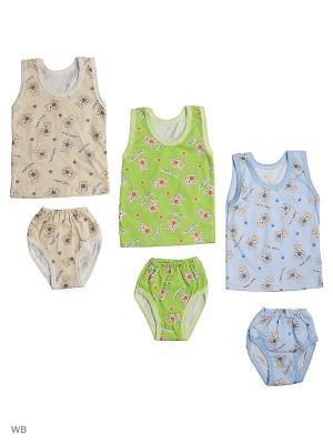 Комплект  белья 3 штуки Babycollection. Цвет: салатовый, бежевый, голубой