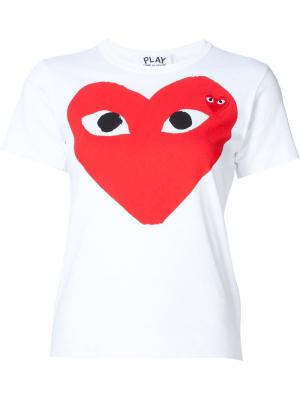 Heart print and application T-shirt Comme Des Garçons Play. Цвет: none
