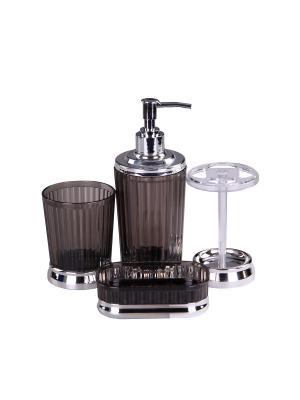Набор для ванны 4 предмета: дозатор, подставка под зубные щетки, стакан, мыльница PATRICIA. Цвет: черный